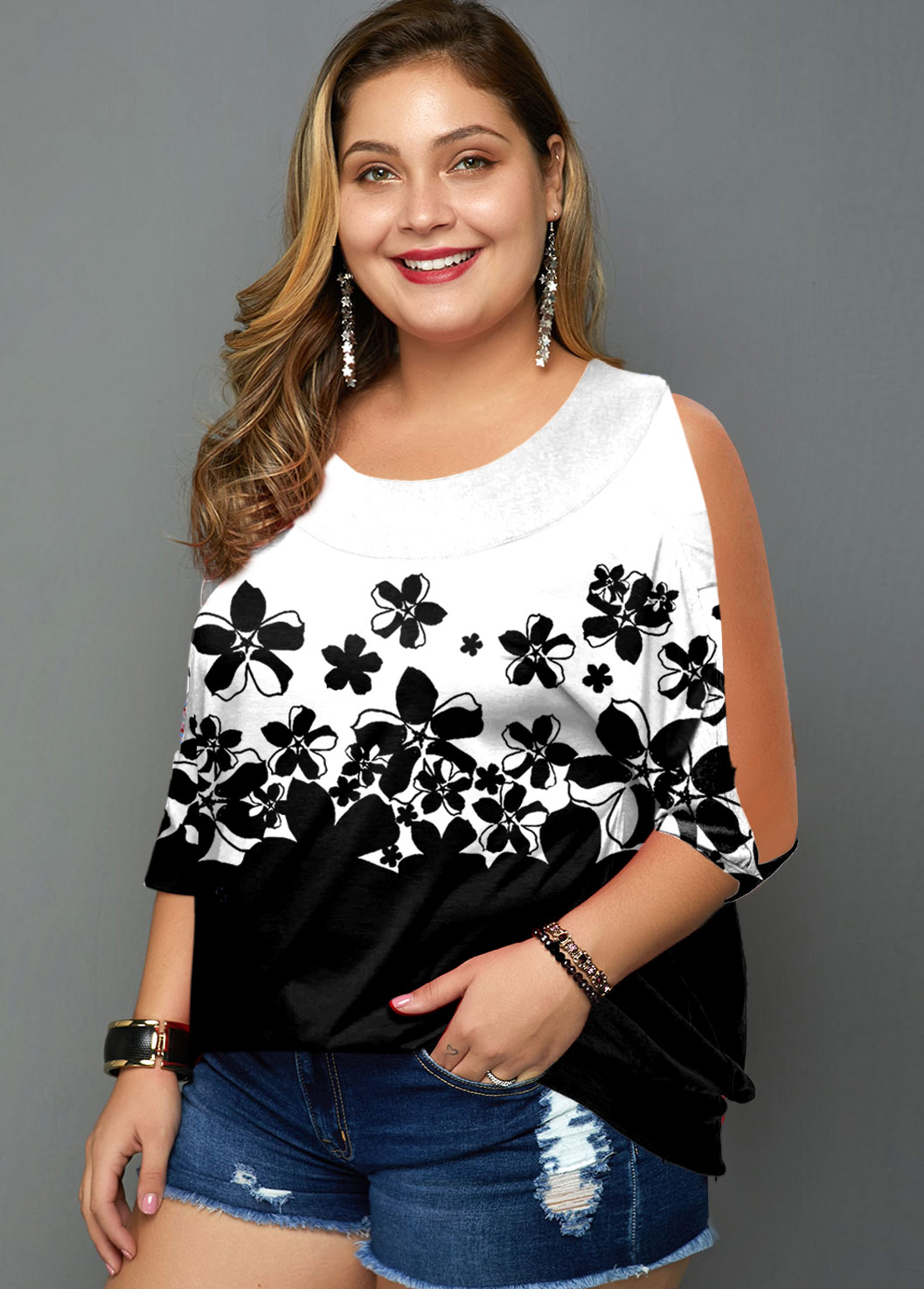 Ombre Plus Size Floral Print Contrast T Shirt