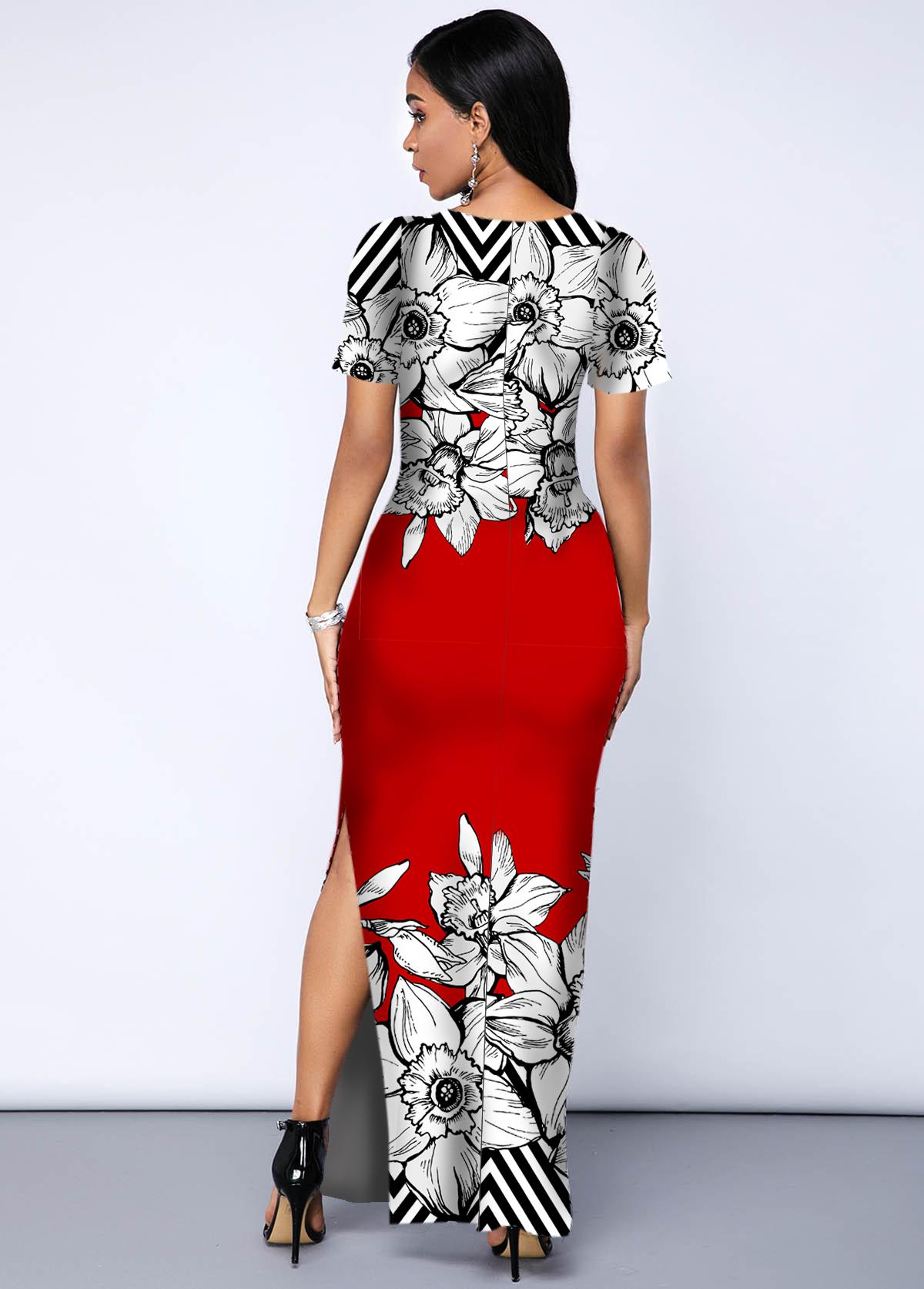 Printed Side Slit Contrast Maxi Dress