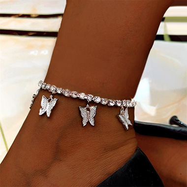 Butterfly Design Rhinestone Detail Silver Anklet