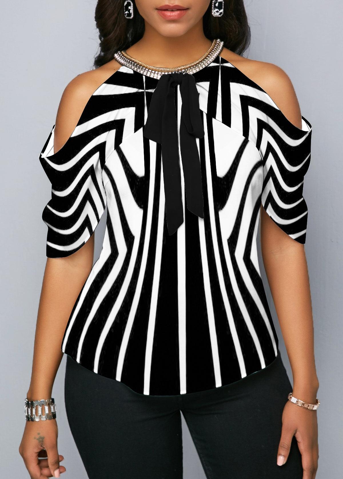 Embellished Neck Cold Shoulder Striped Blouse