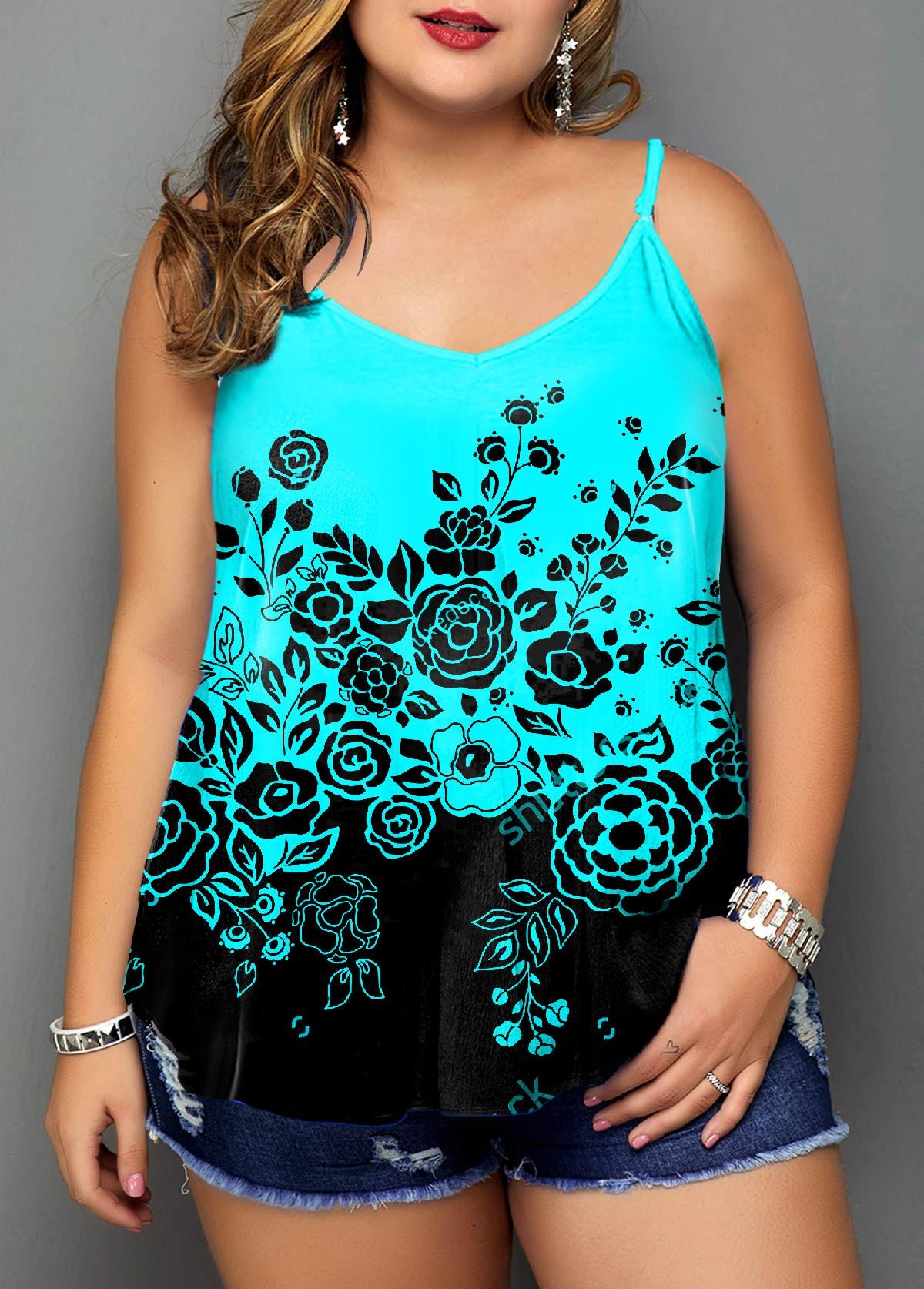 Floral Print Plus Size Ombre Camisole Top