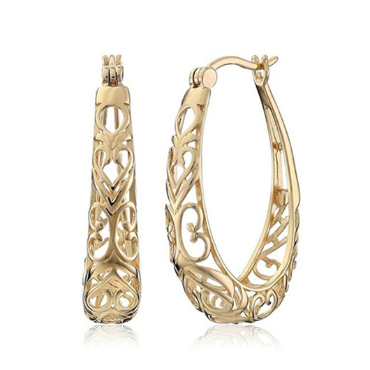 Gold Hollow Out Design Metal Detail Earring Set