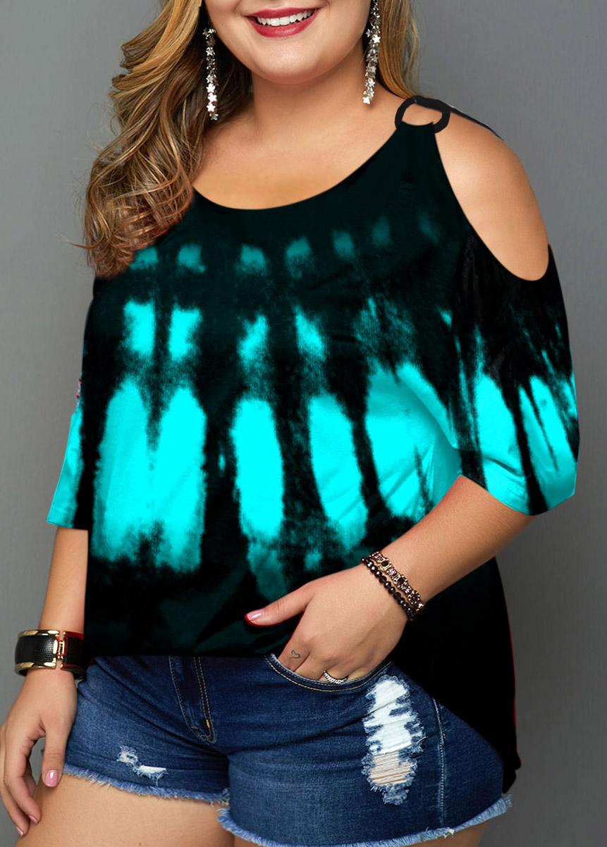 Tie Dye Print Plus Size Cold Shoulder T Shirt