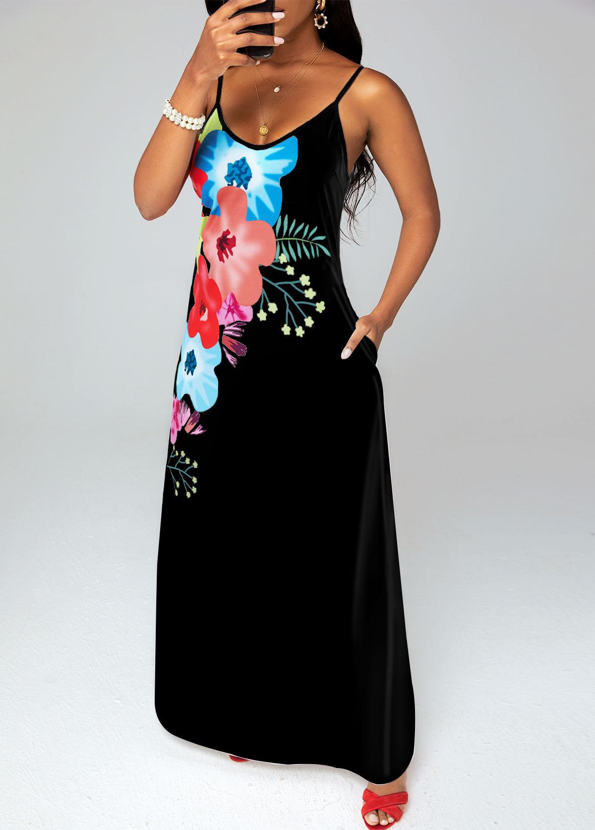 Spaghetti Strap Floral Print Double Pockets Maxi Dress