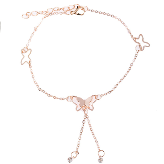 Hollow Out Butterfly Deaign Rhinestone Detail Anklet