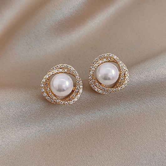Metal Pearl Detail Rhinestone Design Earring Set