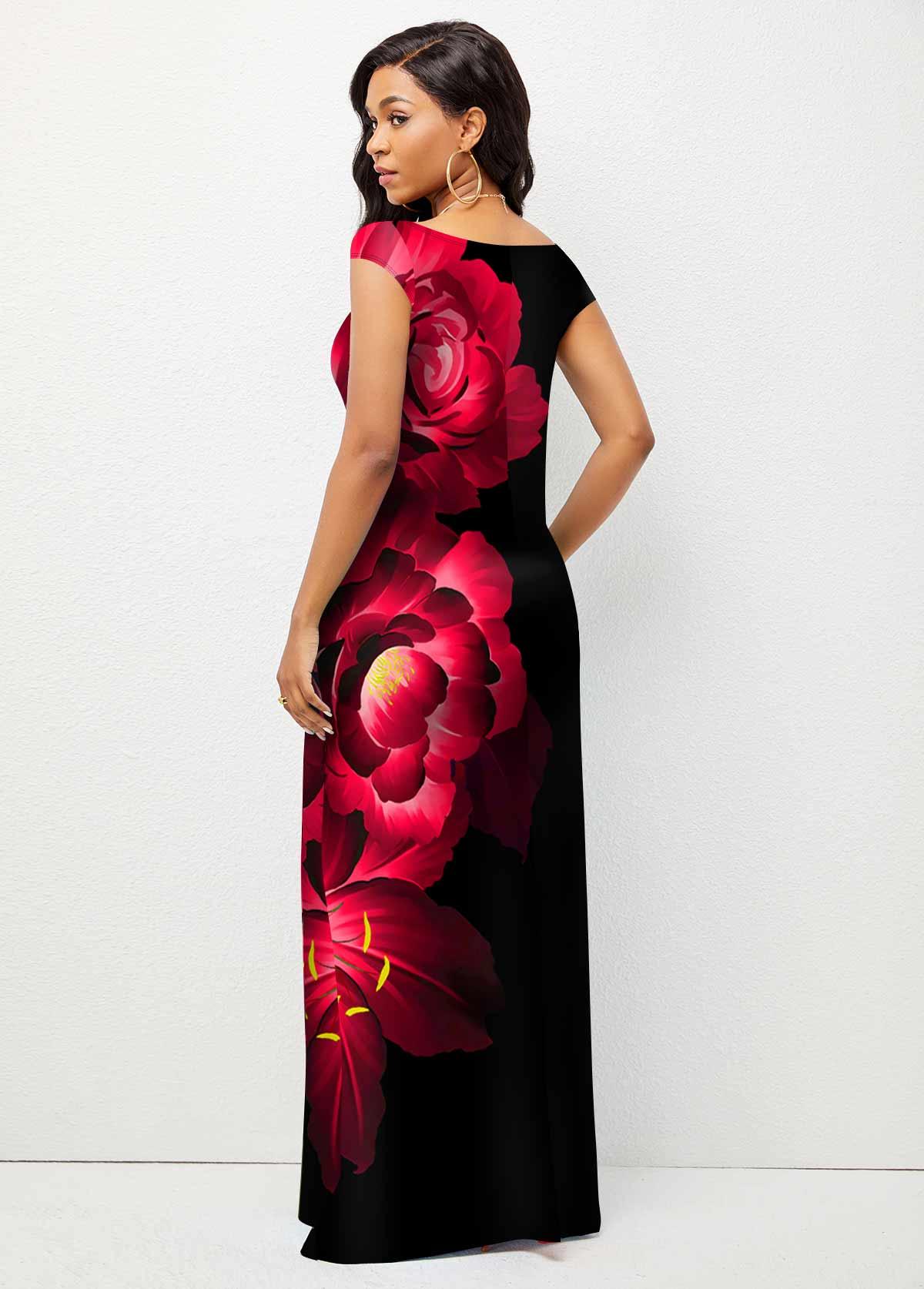 Short Sleeve Floral Print Cross Strap Dress
