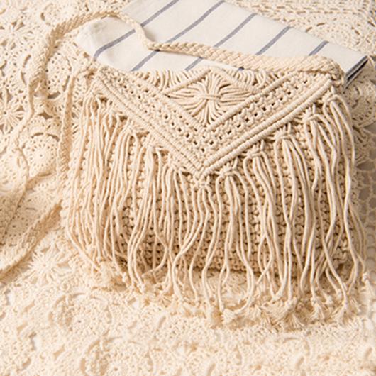 White Knitted Design Tassel Detail Crossbody Messenger Bag