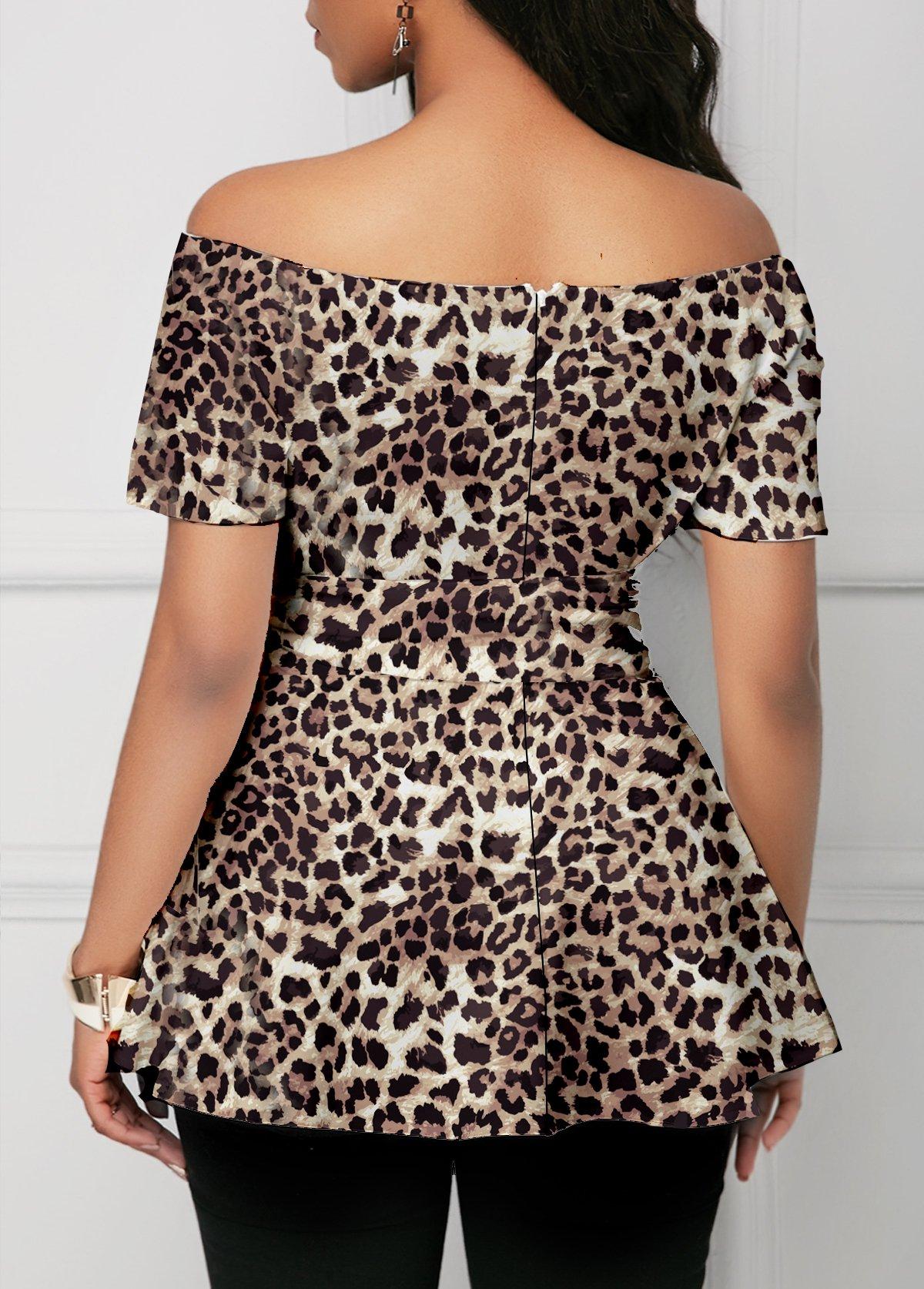 Short Sleeve Leopard Print One Shoulder Blouse