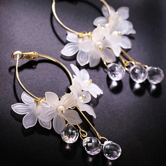 Metal Detail Floral Design Crystal Earring Set