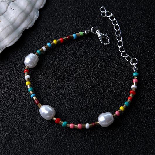 Multi Color Beads Detail Pearl Design Anklet