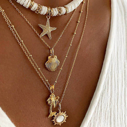 Shell Starfish Detail Layered Design Necklace