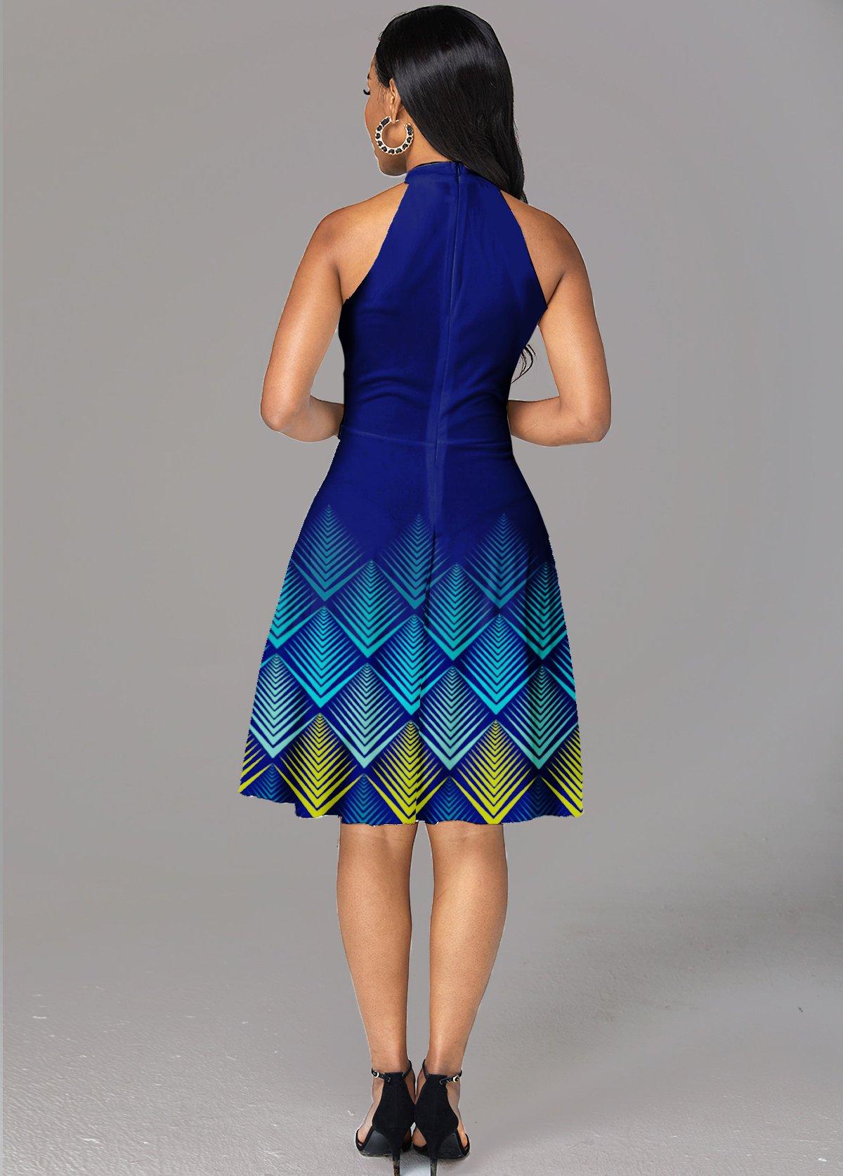 Geometric Print Bib Neck Sleeveless Dress