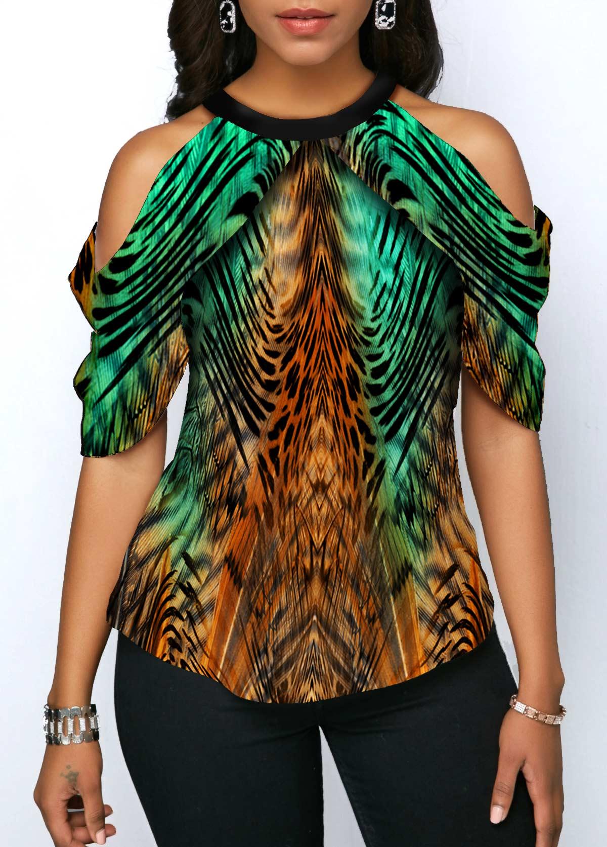 Cold Shoulder Animal Print Half Sleeve Blouse
