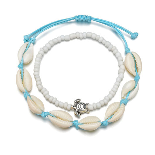 Beads Shell Design Metal Detail Anklets