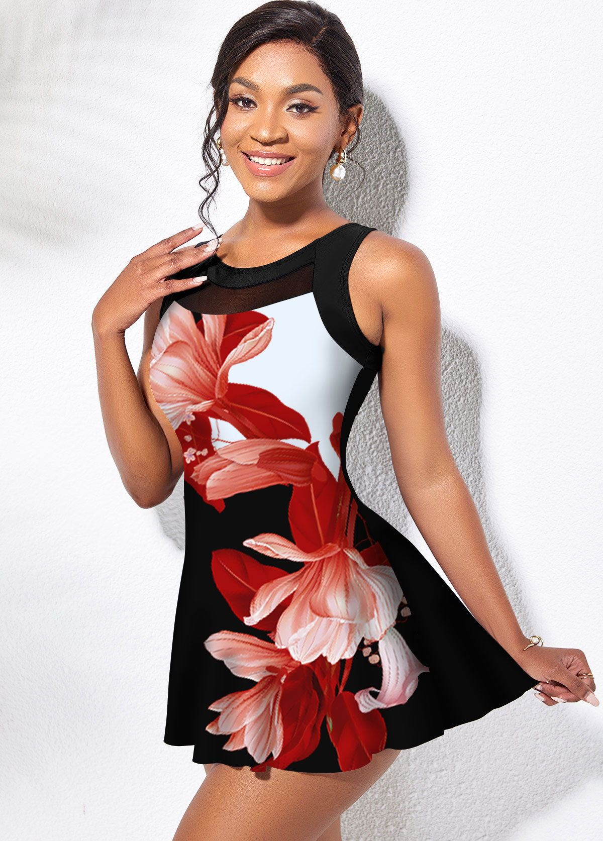 Wide Strap Floral Print Mesh Stitching Swimdress and Panty