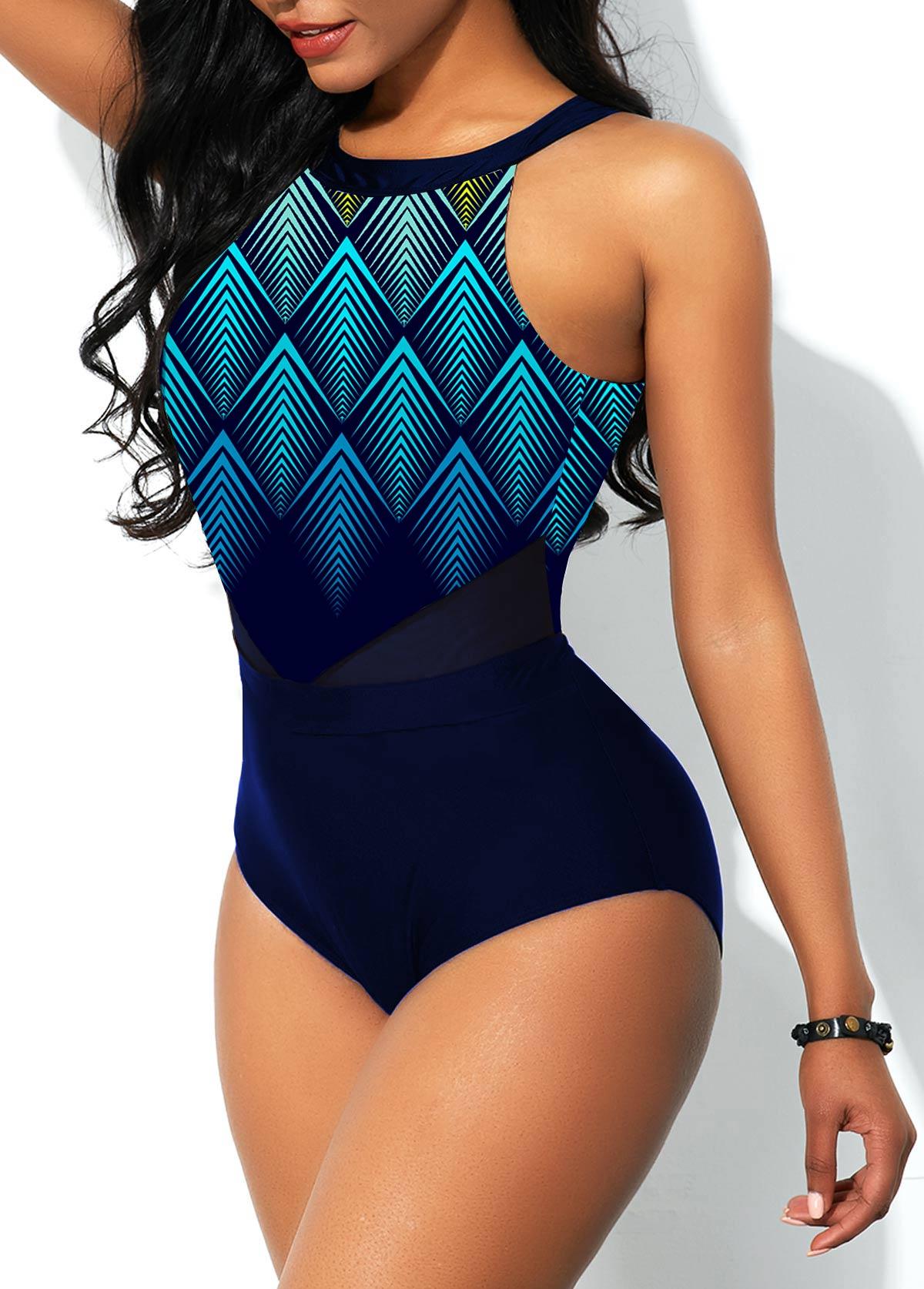 Mesh Stitching Geometric Print Ombre One Piece Swimwear