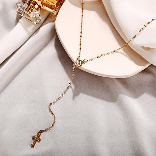 Gold Cross Design Metal Detail Necklace