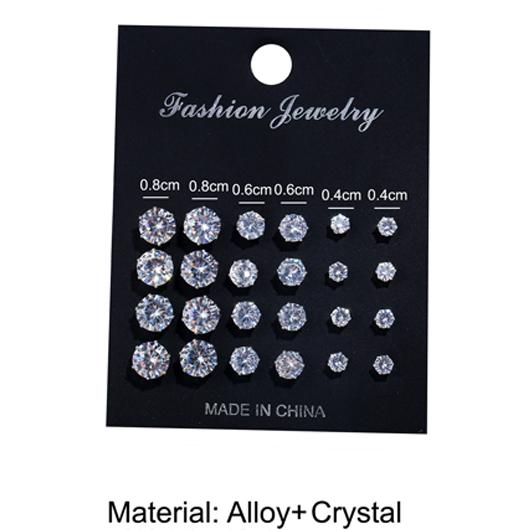 Metal Design Rhinestone Detail Silver Earring Set