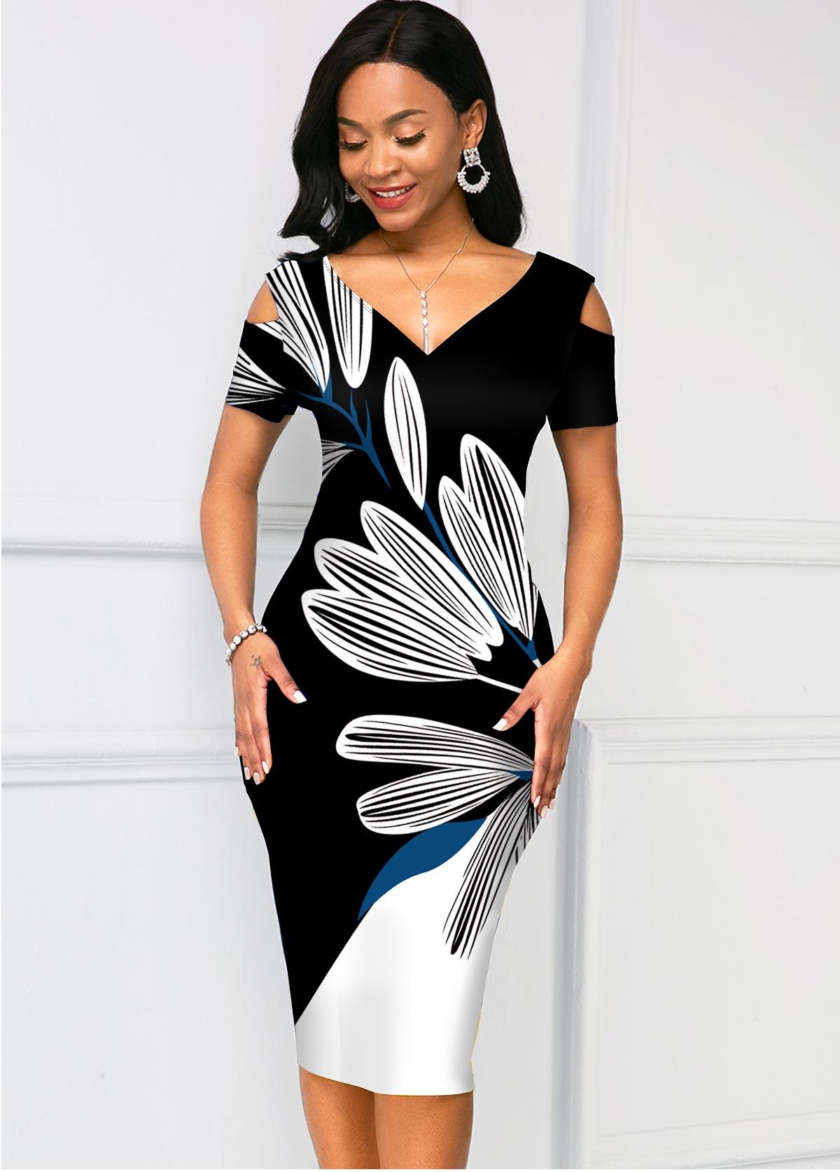 Contrast V Neck Floral Print Bodycon Dress