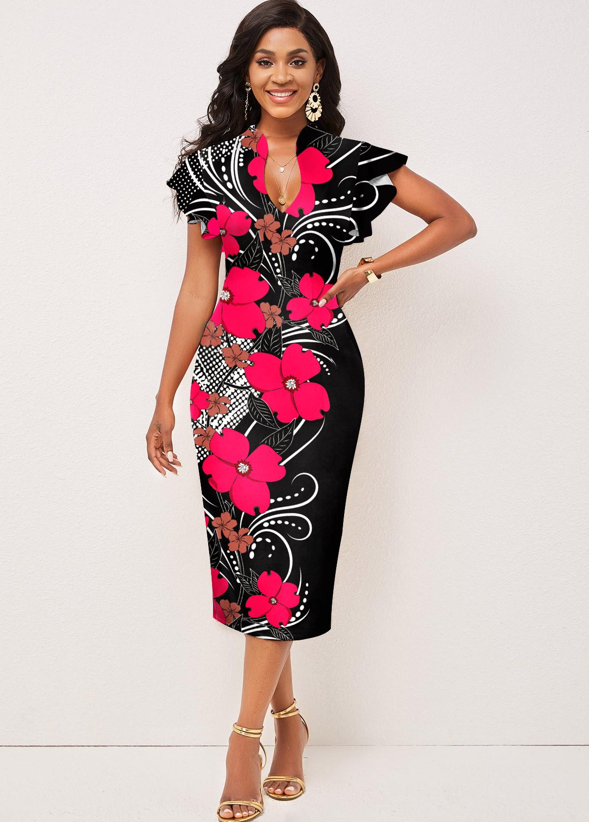 Floral Print Short Sleeve Contrast Dress