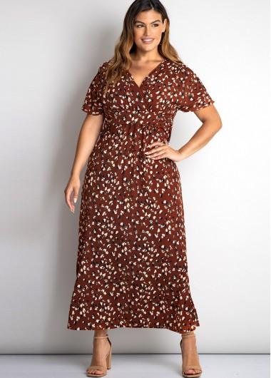 Side Slit Plus Size V Neck Belted Dress