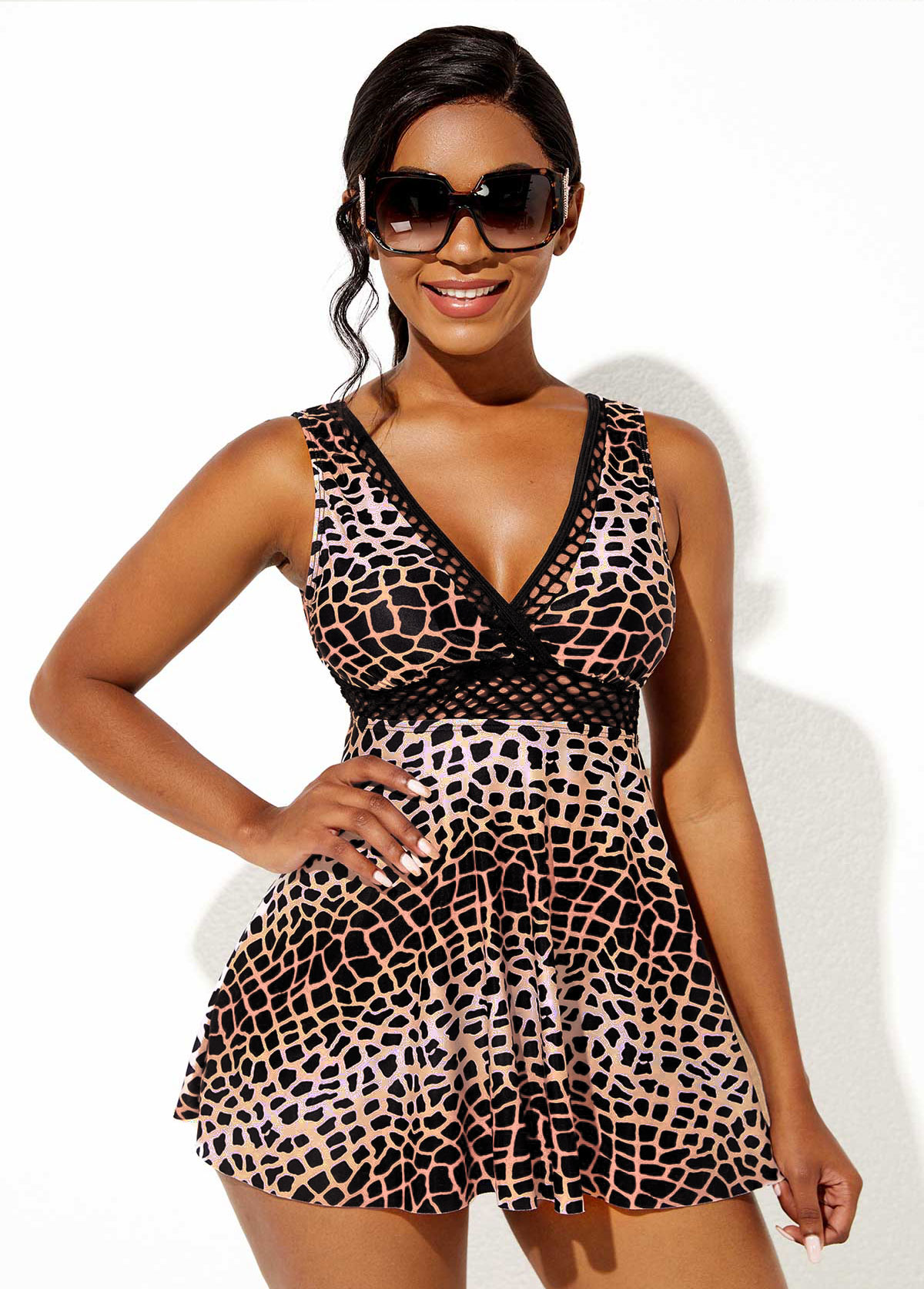 Leopard Print Wide Strap Deep V Neck Swimdress and Panty