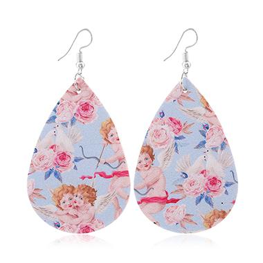 Flower Print Multi Color Faux Leather Earring Set