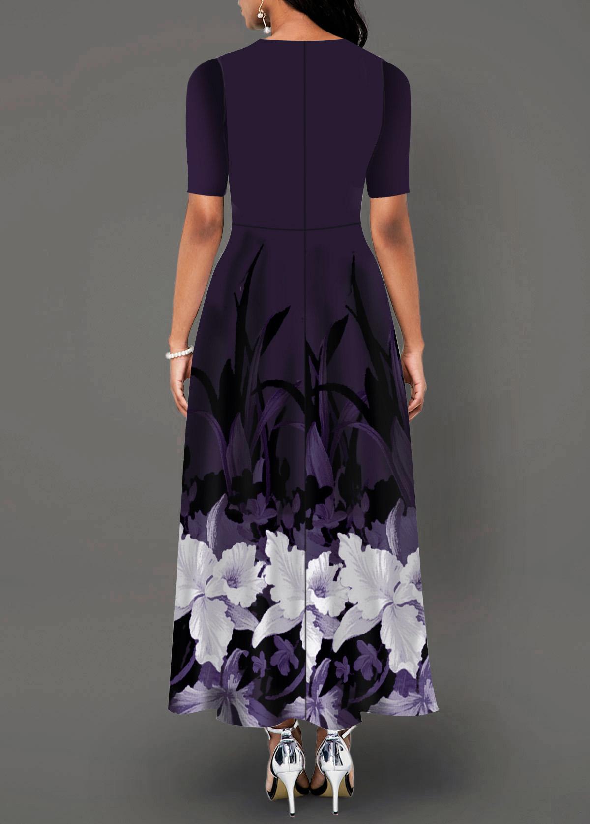 Cutout Neck Side Pocket Floral Print Maxi Dress