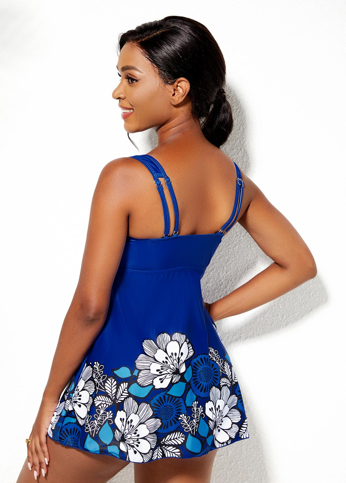 Twist Front Floral Print Swimdress and Shorts