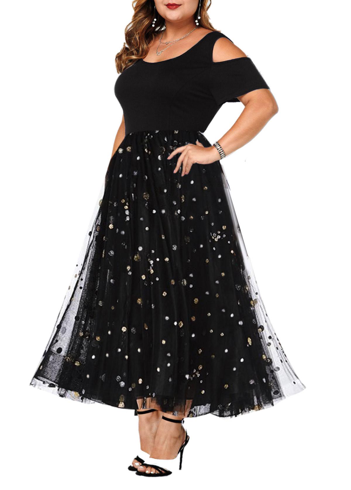 Sequin Cold Shoulder Mesh Plus Size Dress