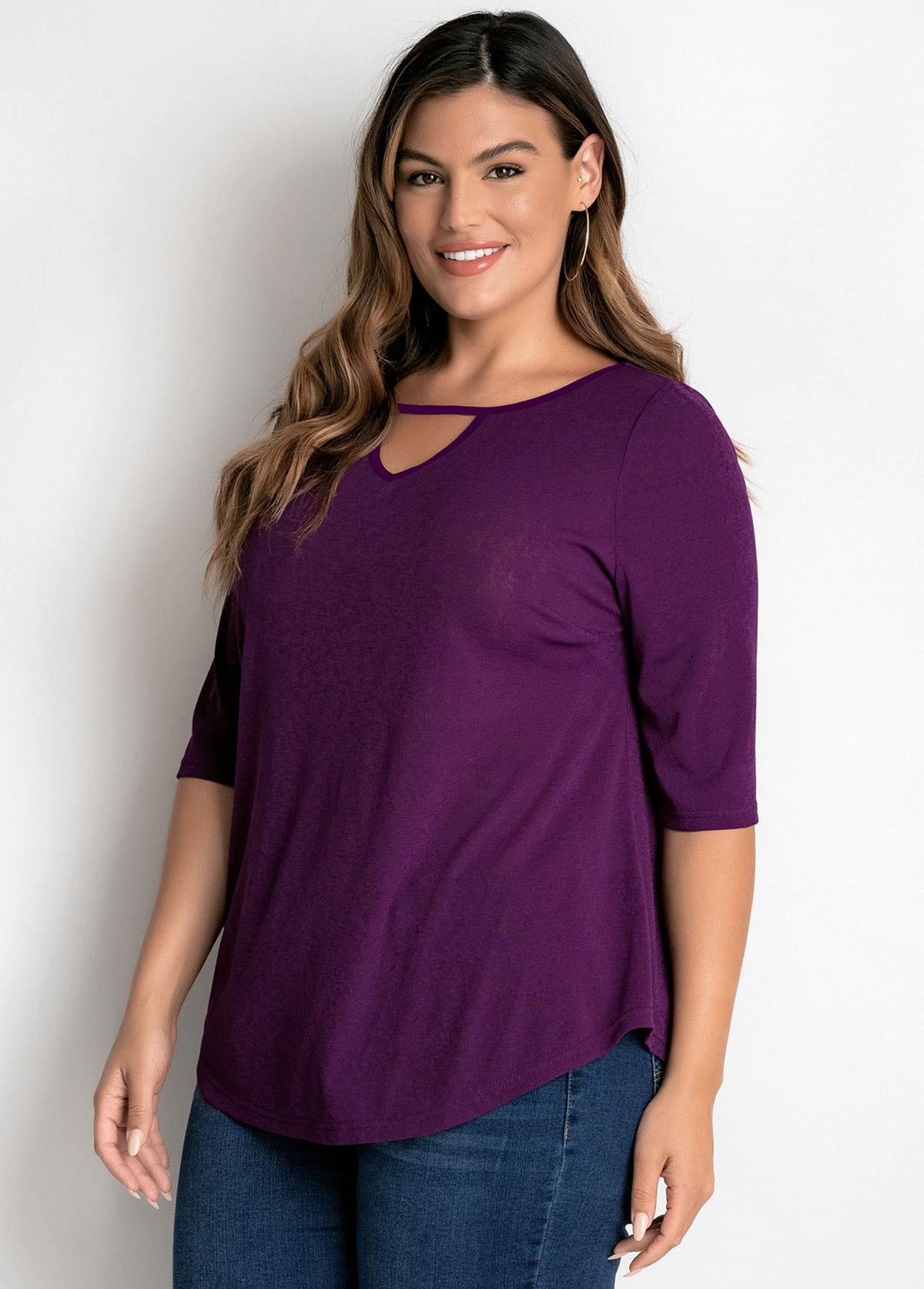 Purple Plus Size Keyhole Neckline T Shirt