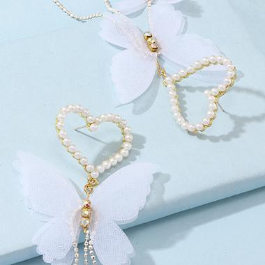 Butterfly Design Metal Pearl Detail Earring Set