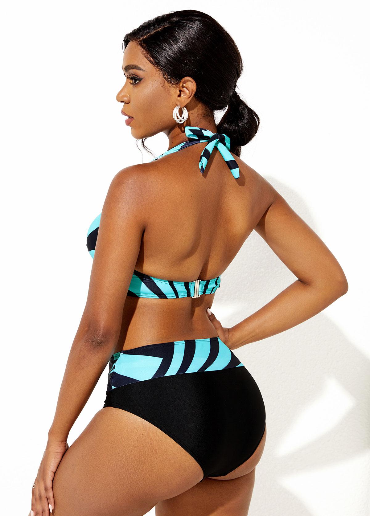 Contrast Geometric Print Halter Bikini Set