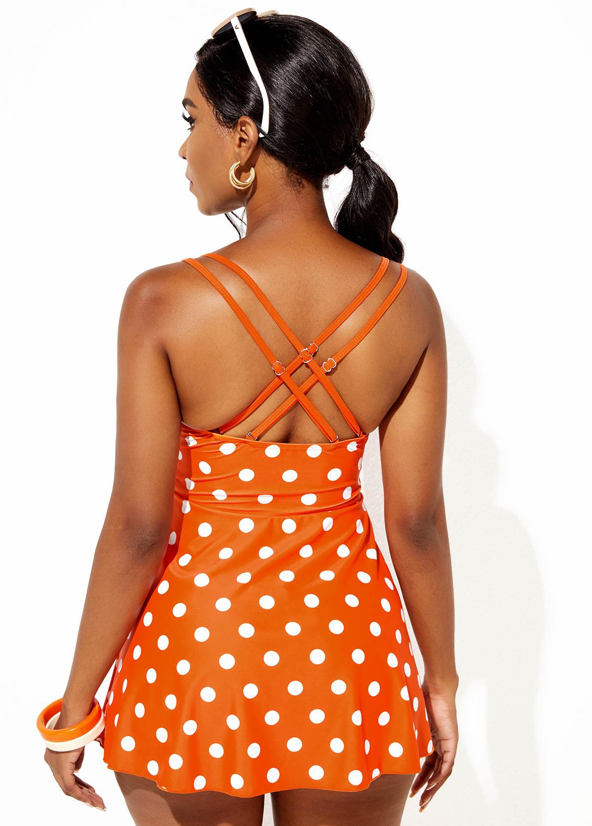 Polka Dot Criss Cross Back Swimdress and Shorts