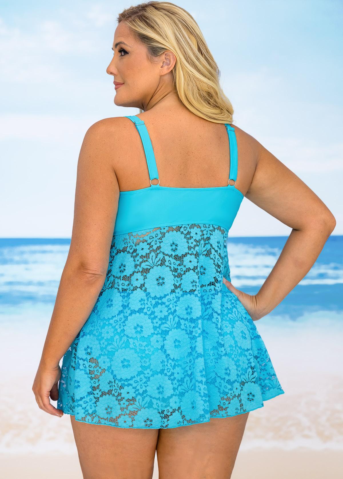 Plus Size Lace Stitching Crossover Hem Swimdress and Panty