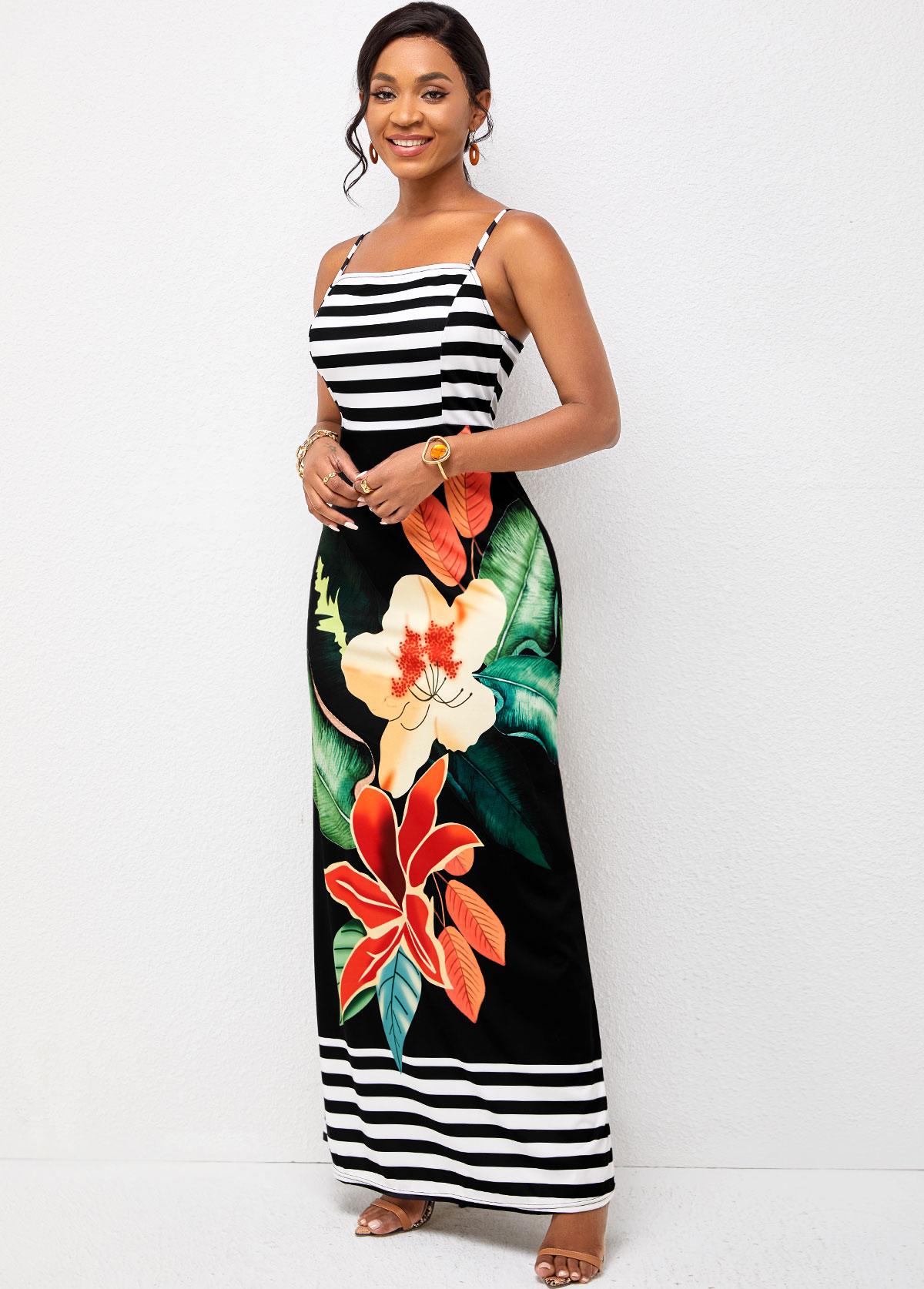 Spaghetti Strap Maxi Floral Print Dress