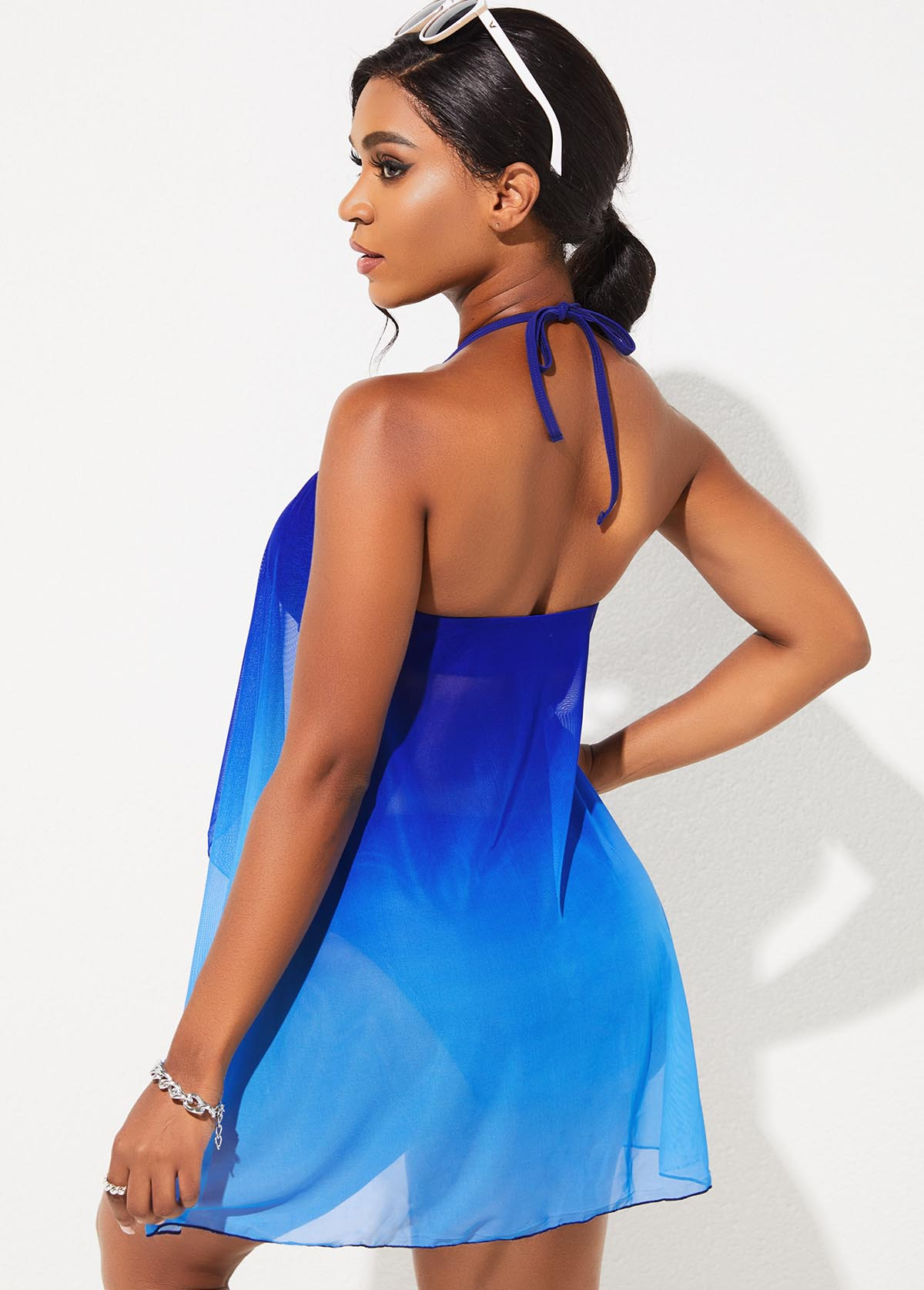 Flyaway Halter Lace Stitching Ombre One Piece Swimdress