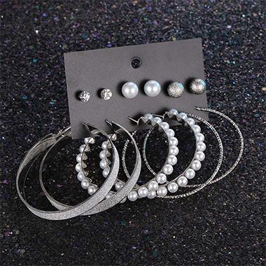 Circular Design Pearl Detail Earring Set