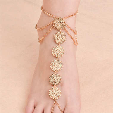Layered Design Gold Metal Detail Anklet