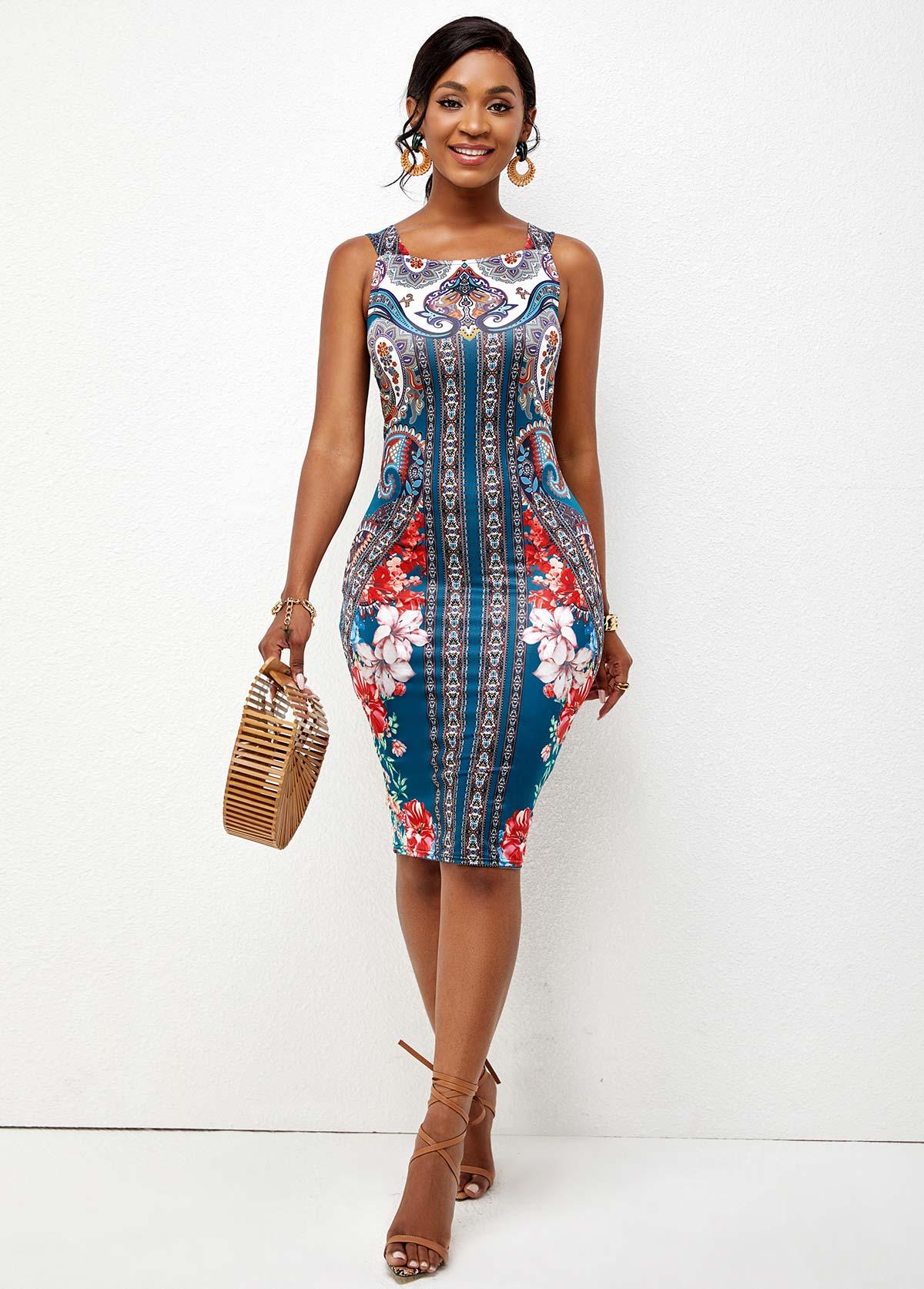 Tribal Print Wide Strap Sheath Dress