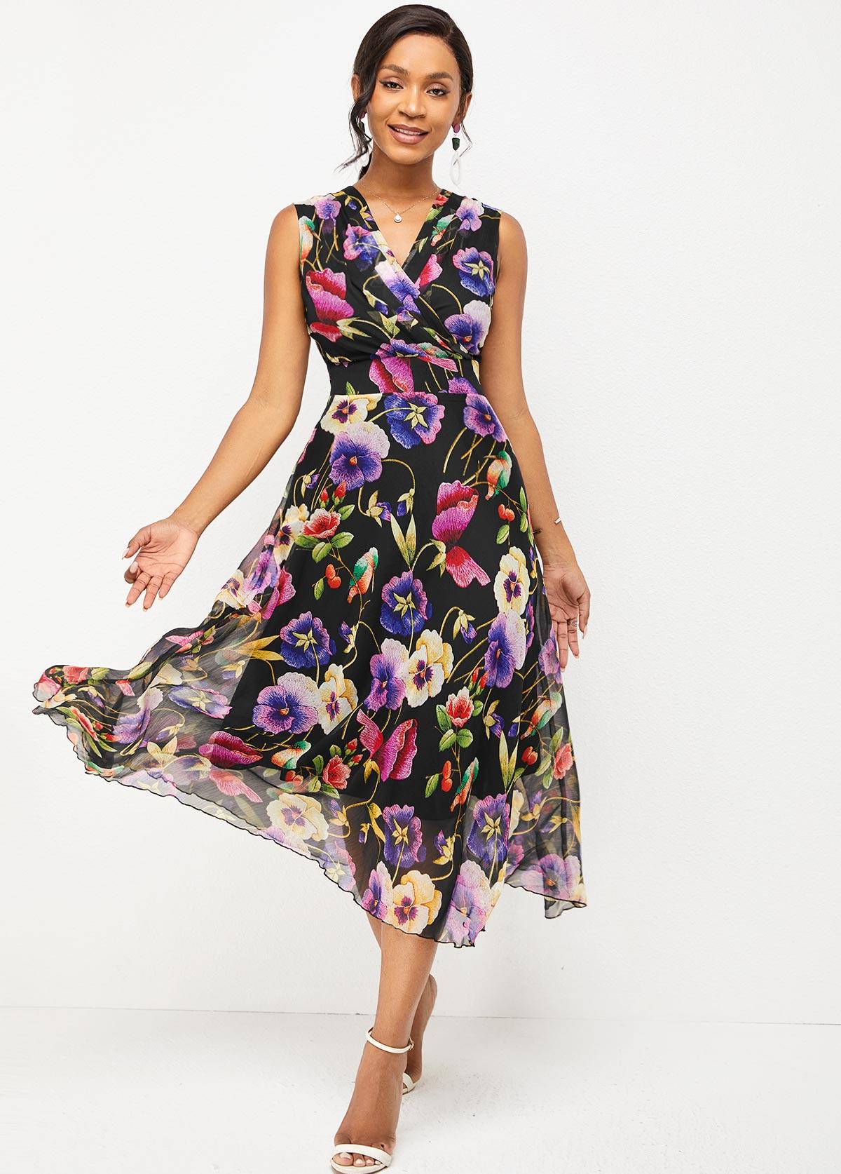 Sleeveless Floral Print V Neck Dress