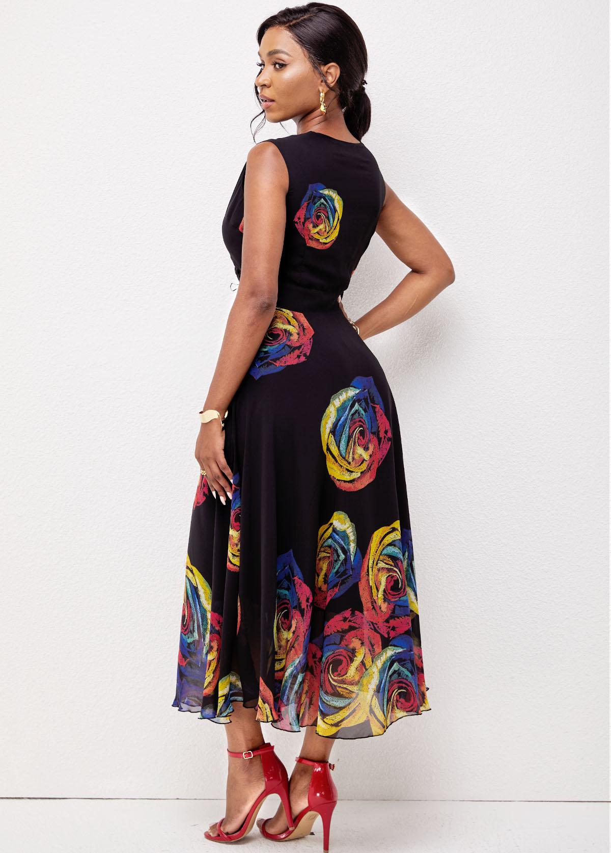 Floral Print Sleeveless V Neck Dress