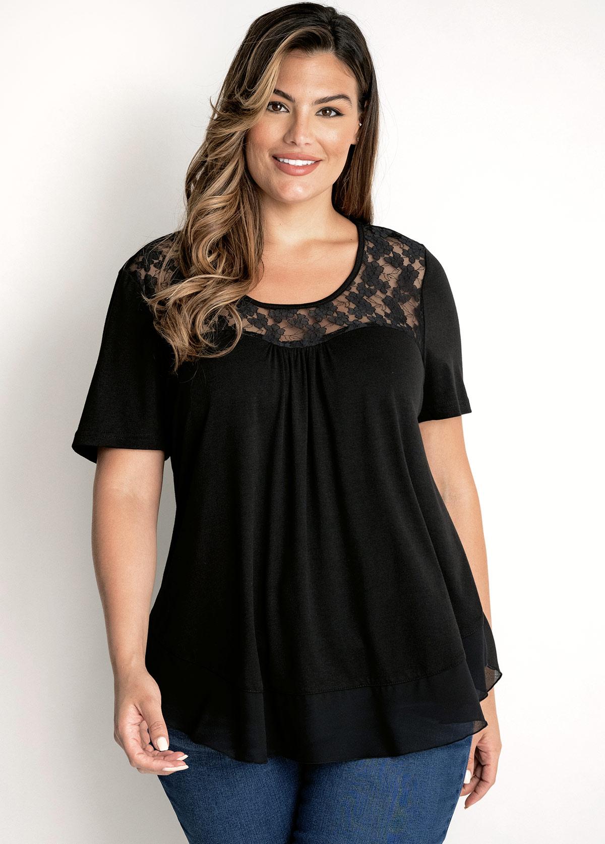 Short Sleeve Lace Patchwork Plus Size T Shirt