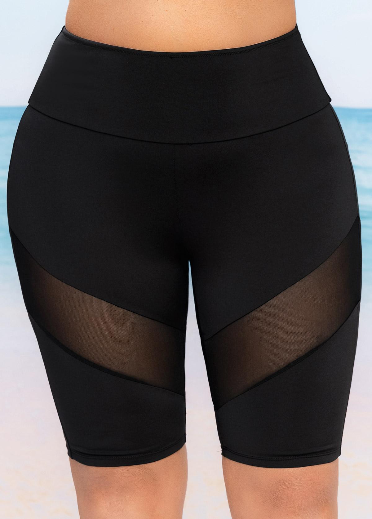 Plus Size Mesh Stitching High Waist Swim Shorts