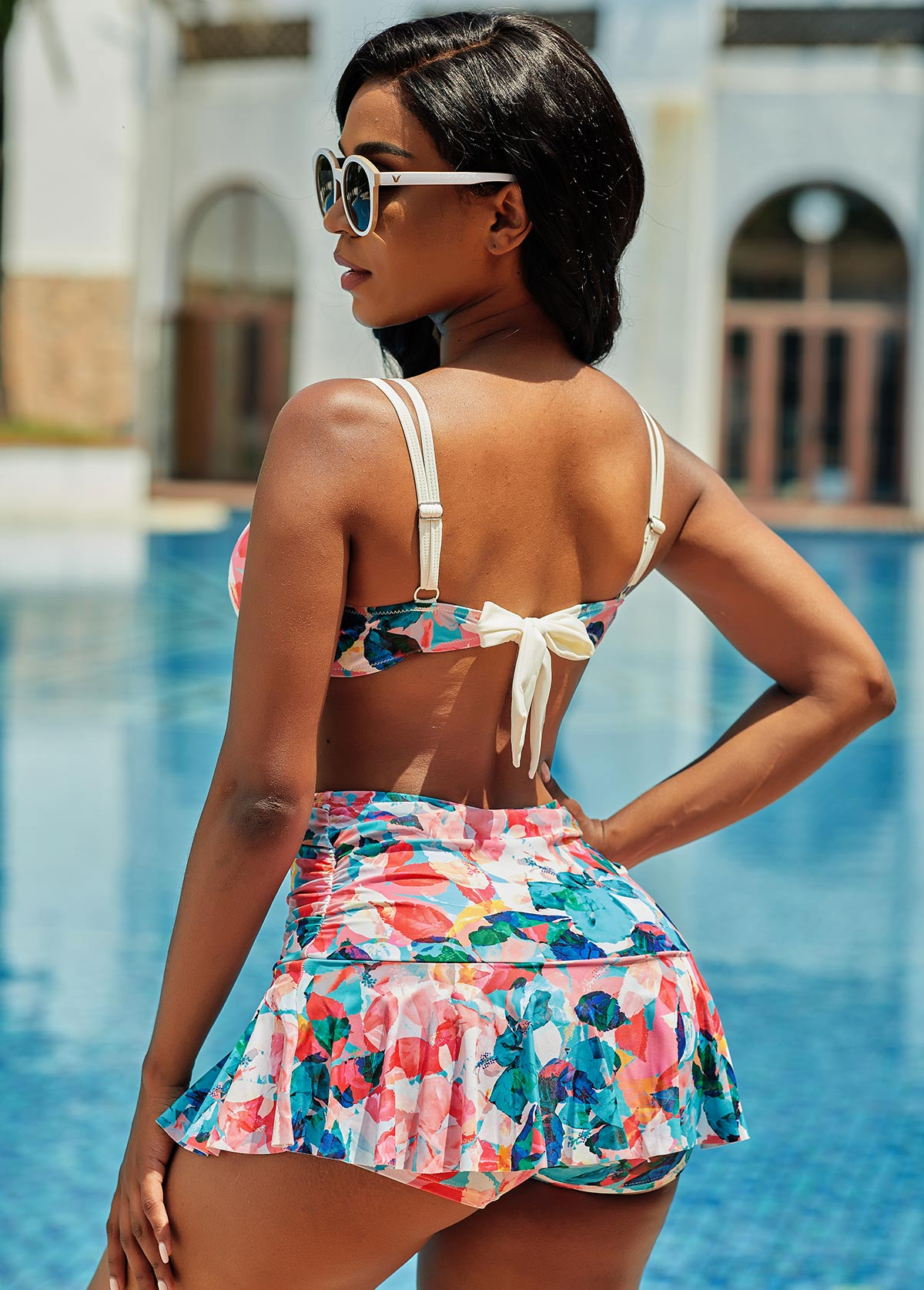 Spaghetti Strap High Waisted Floral Print Bikini Set