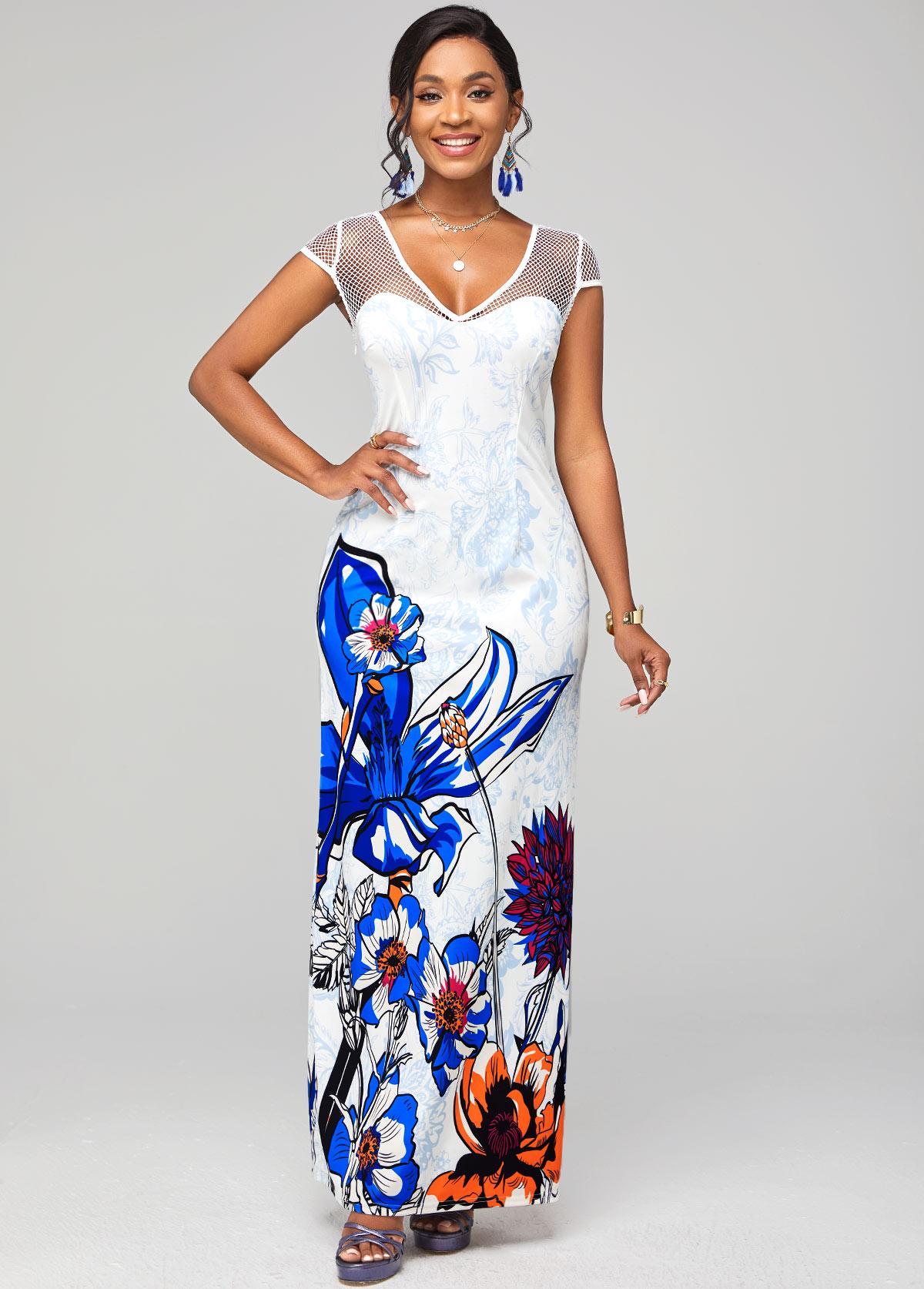 Short Sleeve Fishnet Panel Floral Print Dress