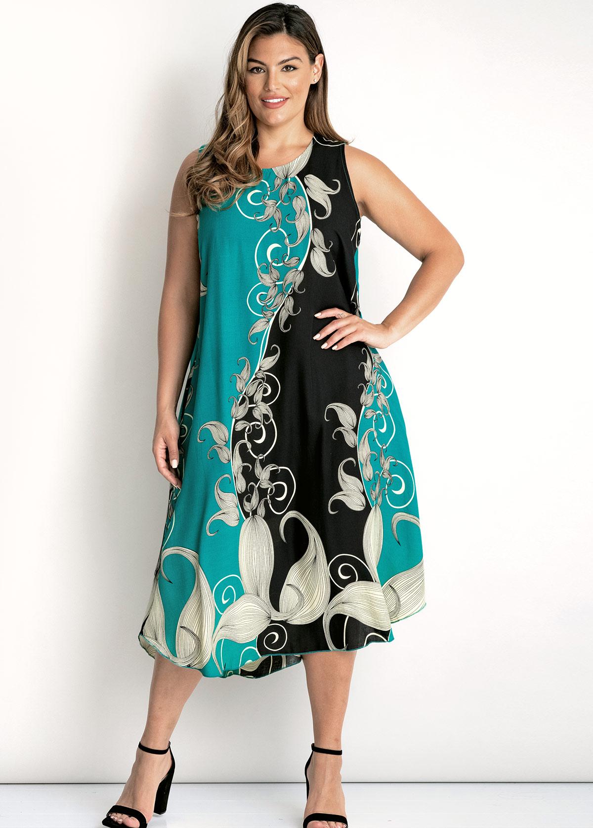 Round Neck Floral Print Sleeveless Plus Size Dress