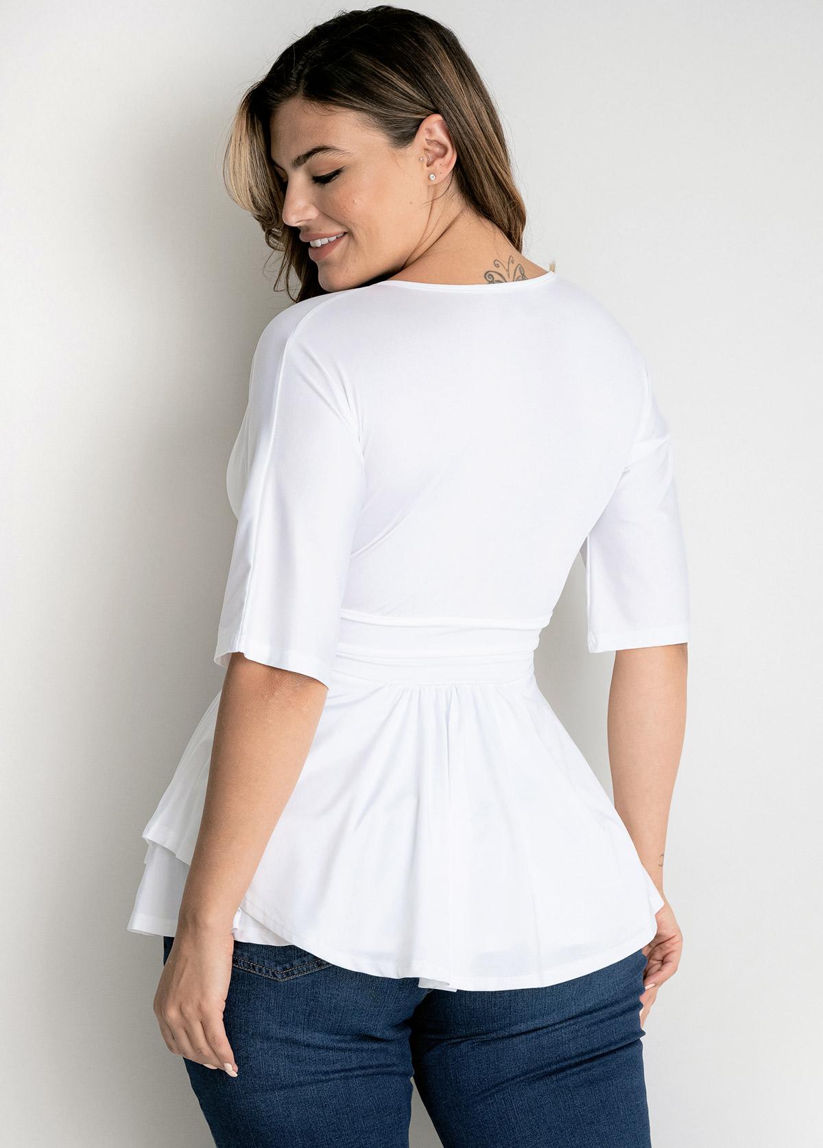 Plus Size Solid V Neck T Shirt