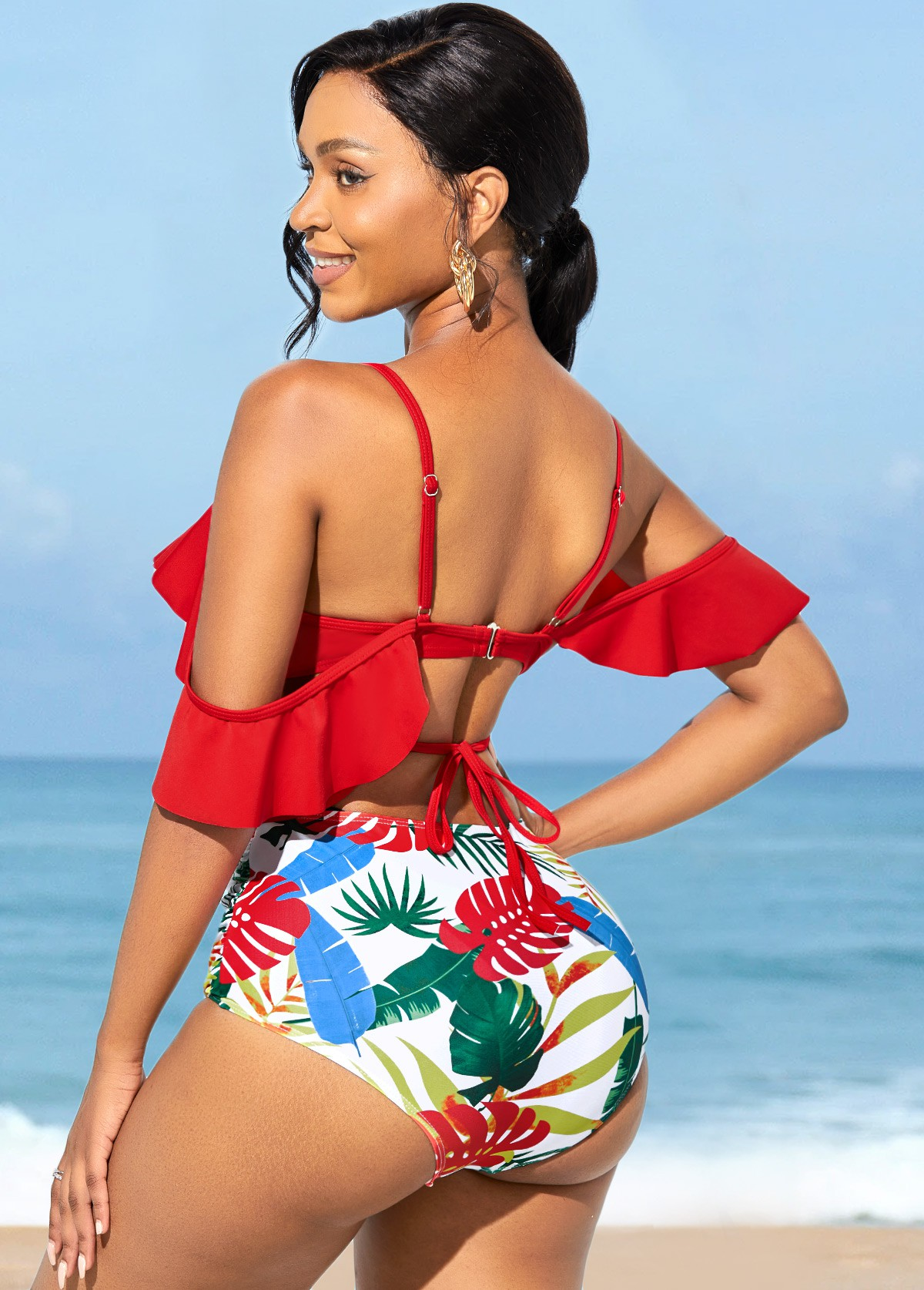Flounce Spaghetti Strap High Waisted Bikini Set